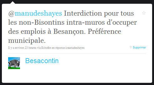 Interdiction pour tous les non-Bisontins intra-muros d'occuper des emplois à Besançon. Préférence municipale.