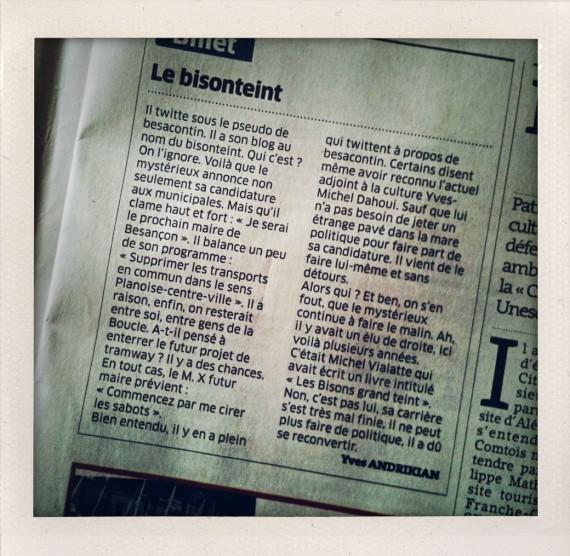 """""""le bisonteint"""" billet paru dans l'Est républicain du mercredi 29 septembre 2010"""