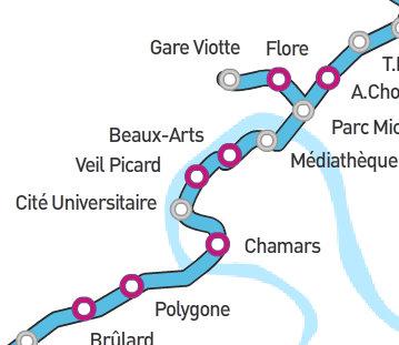 Détail du tracé du tramway bisontin entre le pont Canot et le pont Battant
