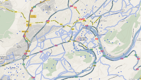 Couverture des rues de Besançon dans Google Street view - novembre 2010