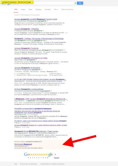 """Capture d'écran des résultats d'une recherche """"Grosperrin"""" sur Google"""