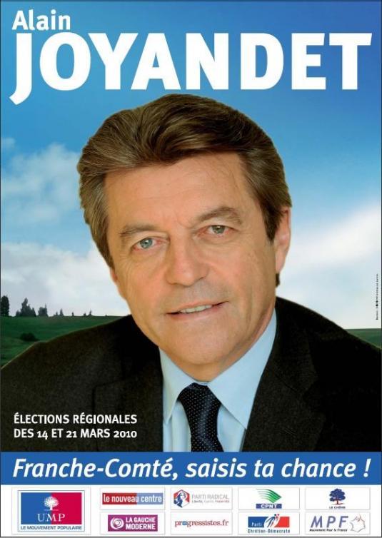 affiche d'Alain Joyandet pour les élections régionales de mars 2010